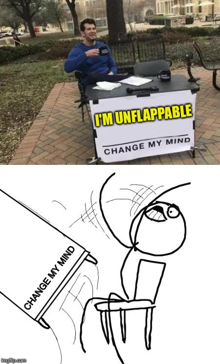 I have to wonder what was said. | I'M UNFLAPPABLE CHANGE MY MIND | image tagged in change my mind,table flip guy,memes,funny | made w/ Imgflip meme maker