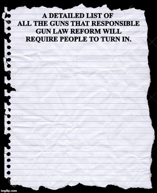 blank paper | A DETAILED LIST OF ALL THE GUNS THAT RESPONSIBLE GUN LAW REFORM WILL REQUIRE PEOPLE TO TURN IN. | image tagged in blank paper | made w/ Imgflip meme maker