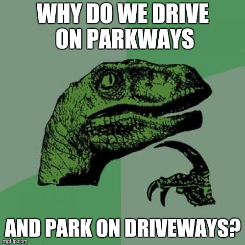 Philosoraptor Meme | WHY DO WE DRIVE ON PARKWAYS AND PARK ON DRIVEWAYS? | image tagged in memes,philosoraptor,first world problems | made w/ Imgflip meme maker