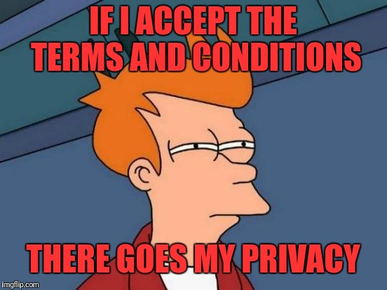 Futurama Fry Meme | IF I ACCEPT THE TERMS AND CONDITIONS THERE GOES MY PRIVACY | image tagged in memes,futurama fry | made w/ Imgflip meme maker