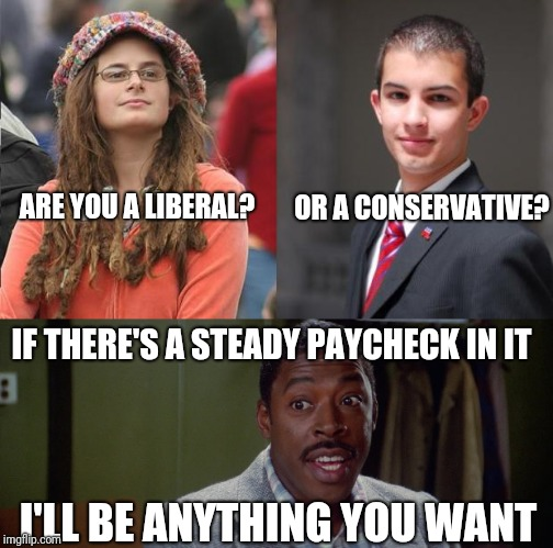 Are you a liberal or a conservative? | ARE YOU A LIBERAL? I'LL BE ANYTHING YOU WANT IF THERE'S A STEADY PAYCHECK IN IT OR A CONSERVATIVE? | image tagged in liberals,conservatives,memes,funny memes | made w/ Imgflip meme maker