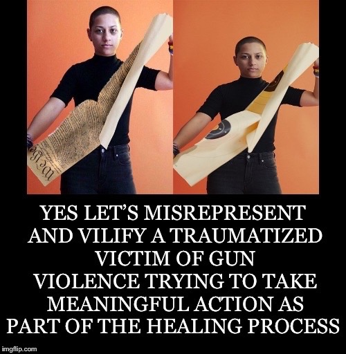 Photoshopped Vilification  |  . | image tagged in emma gonzalez,florida shooting,school shooting,gun control,gun violence,2nd amendment | made w/ Imgflip meme maker