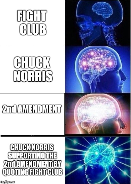 Trifecta of Awesomeness | FIGHT CLUB CHUCK NORRIS 2nd AMENDMENT CHUCK NORRIS SUPPORTING THE 2nd AMENDMENT BY QUOTING FIGHT CLUB | image tagged in memes,expanding brain,chuck norris,2nd amendment,fight club | made w/ Imgflip meme maker