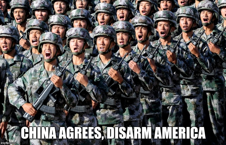 CHINA AGREES, DISARM AMERICA | image tagged in chinese army | made w/ Imgflip meme maker