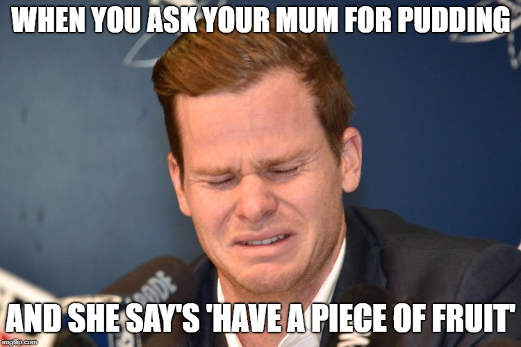 Steve Smith | WHEN YOU ASK YOUR MUM FOR PUDDING AND SHE SAY'S 'HAVE A PIECE OF FRUIT' | image tagged in steve smith,funny,cricket,meanwhile in australia,australia | made w/ Imgflip meme maker