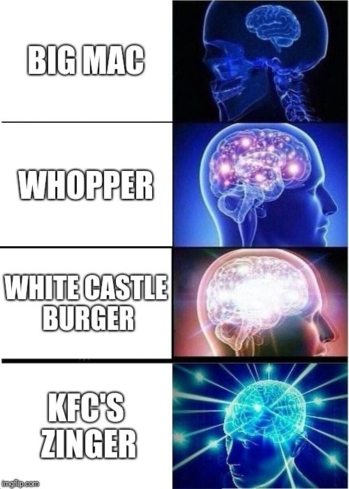 Expanding Brain Meme | BIG MAC WHOPPER WHITE CASTLE BURGER KFC'S ZINGER | image tagged in memes,expanding brain | made w/ Imgflip meme maker