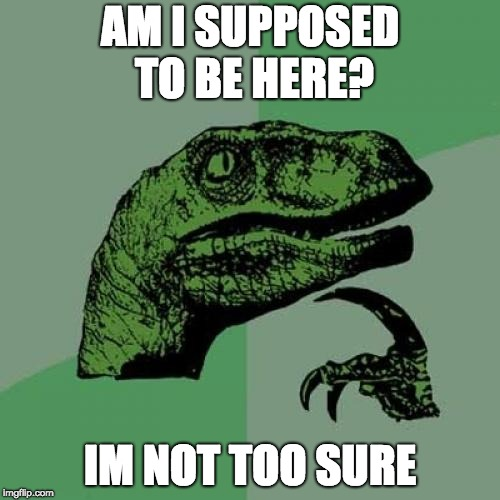 Philosoraptor | AM I SUPPOSED TO BE HERE? IM NOT TOO SURE | image tagged in memes,philosoraptor | made w/ Imgflip meme maker