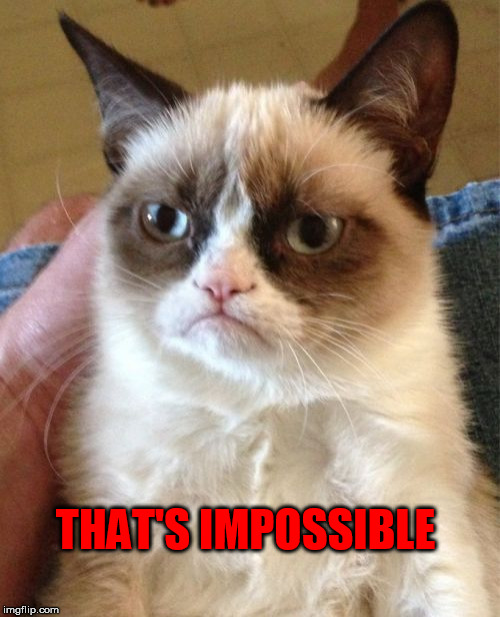 Grumpy Cat Meme | THAT'S IMPOSSIBLE | image tagged in memes,grumpy cat | made w/ Imgflip meme maker