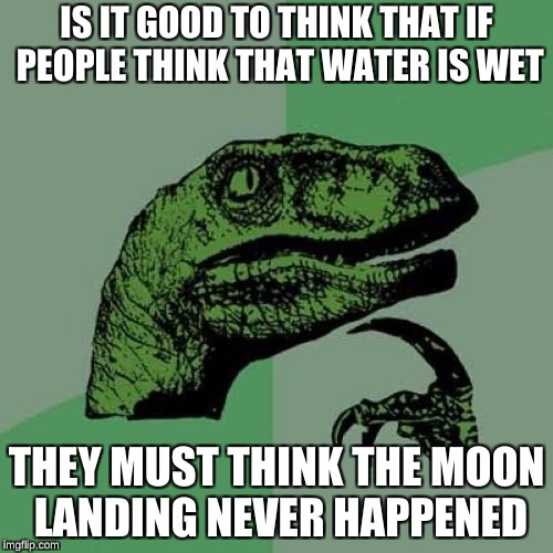 Philosoraptor Meme | IS IT GOOD TO THINK THAT IF PEOPLE THINK THAT WATER IS WET THEY MUST THINK THE MOON LANDING NEVER HAPPENED | image tagged in memes,philosoraptor | made w/ Imgflip meme maker