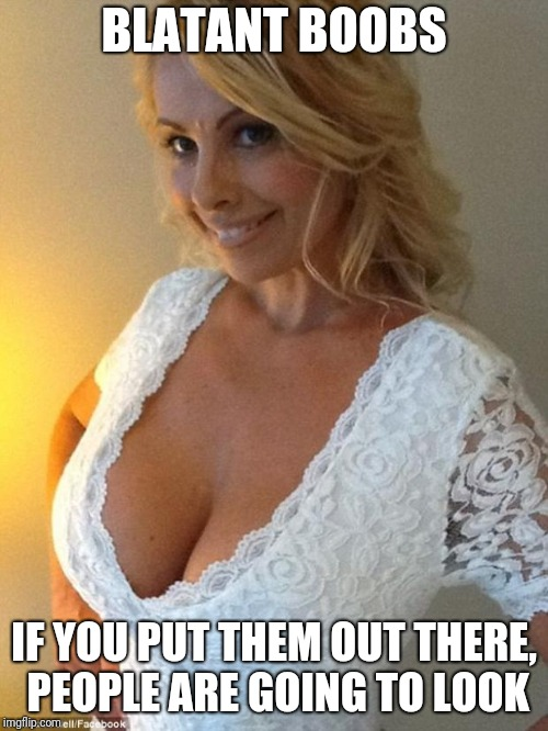 I like to include some truth in my upvote bait.... | BLATANT BOOBS IF YOU PUT THEM OUT THERE, PEOPLE ARE GOING TO LOOK | image tagged in blonde boobs | made w/ Imgflip meme maker