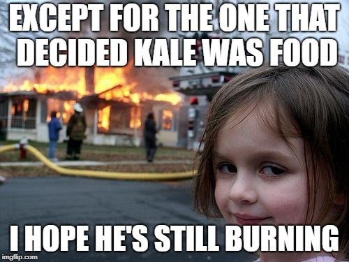 Disaster Girl Meme | EXCEPT FOR THE ONE THAT DECIDED KALE WAS FOOD I HOPE HE'S STILL BURNING | image tagged in memes,disaster girl | made w/ Imgflip meme maker