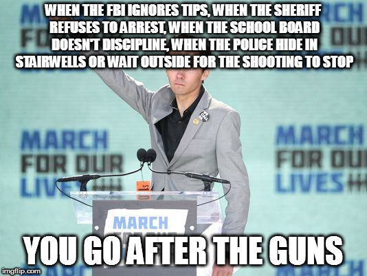 WHEN THE FBI IGNORES TIPS, WHEN THE SHERIFF REFUSES TO ARREST, WHEN THE SCHOOL BOARD DOESN'T DISCIPLINE, WHEN THE POLICE HIDE IN STAIRWELLS  | image tagged in david hogg parkland school shooting sheriff israel guns secone 2nd amendment | made w/ Imgflip meme maker