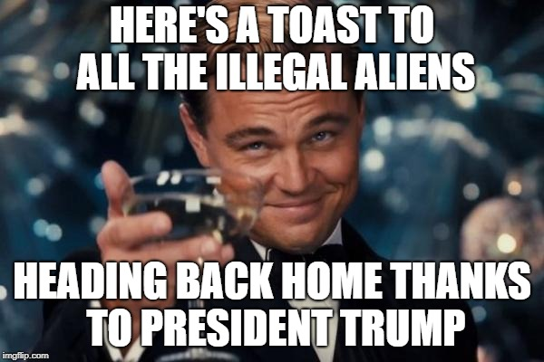 Leonardo Dicaprio Cheers Meme | HERE'S A TOAST TO ALL THE ILLEGAL ALIENS HEADING BACK HOME THANKS TO PRESIDENT TRUMP | image tagged in memes,leonardo dicaprio cheers | made w/ Imgflip meme maker