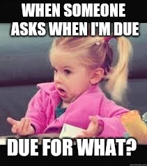 Little girl Dunno | WHEN SOMEONE ASKS WHEN I'M DUE DUE FOR WHAT? | image tagged in little girl dunno | made w/ Imgflip meme maker