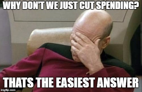 Captain Picard Facepalm Meme | WHY DON'T WE JUST CUT SPENDING? THATS THE EASIEST ANSWER | image tagged in memes,captain picard facepalm | made w/ Imgflip meme maker