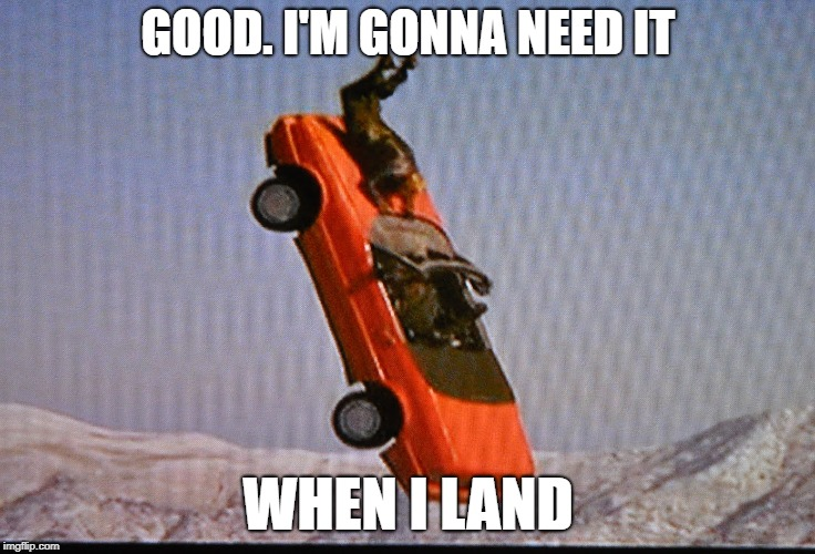 GOOD. I'M GONNA NEED IT WHEN I LAND | made w/ Imgflip meme maker