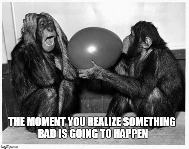 The Moment | THE MOMENT YOU REALIZE SOMETHING BAD IS GOING TO HAPPEN | image tagged in that moment when,apes,ballons | made w/ Imgflip meme maker