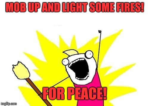 X All The Y Meme | MOB UP AND LIGHT SOME FIRES! FOR PEACE! | image tagged in memes,x all the y | made w/ Imgflip meme maker