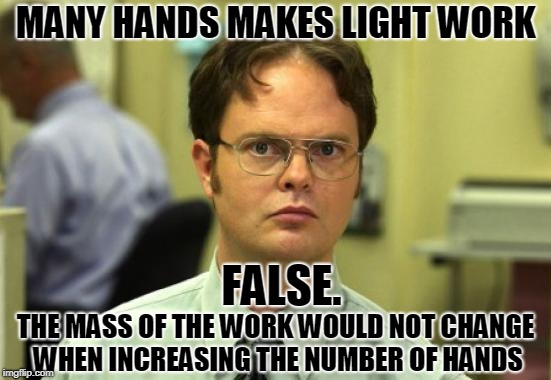 Dwight Schrute Meme | MANY HANDS MAKES LIGHT WORK THE MASS OF THE WORK WOULD NOT CHANGE WHEN INCREASING THE NUMBER OF HANDS FALSE. | image tagged in memes,dwight schrute,false,hands,work | made w/ Imgflip meme maker