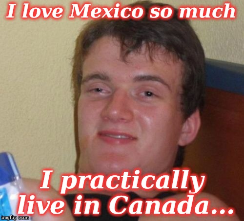 10 Guy Meme | I love Mexico so much I practically live in Canada... | image tagged in memes,10 guy | made w/ Imgflip meme maker