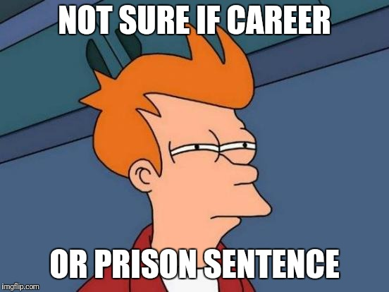 Futurama Fry Meme | NOT SURE IF CAREER OR PRISON SENTENCE | image tagged in memes,futurama fry | made w/ Imgflip meme maker