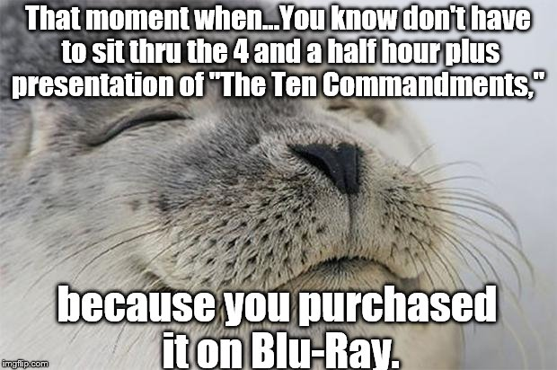 "Satisfied Seal Meme | That moment when...You know don't have to sit thru the 4 and a half hour plus presentation of ""The Ten Commandments,"" because you purchased  