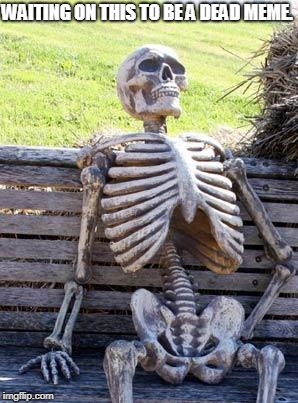 Waiting Skeleton Meme | WAITING ON THIS TO BE A DEAD MEME. | image tagged in memes,waiting skeleton | made w/ Imgflip meme maker