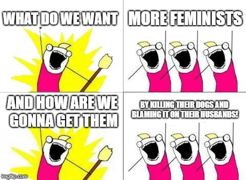What Do We Want Meme | WHAT DO WE WANT MORE FEMINISTS AND HOW ARE WE GONNA GET THEM BY KILLING THEIR DOGS AND BLAMING IT ON THEIR HUSBANDS! | image tagged in memes,what do we want | made w/ Imgflip meme maker