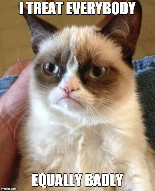 Grumpy Cat Meme | I TREAT EVERYBODY EQUALLY BADLY | image tagged in memes,grumpy cat | made w/ Imgflip meme maker