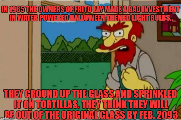 IN 1965 THE OWNERS OF FRITO LAY MADE A BAD INVESTMENT IN WATER POWERED HALLOWEEN THEMED LIGHT BULBS.. THEY GROUND UP THE GLASS AND SPRINKLED | made w/ Imgflip meme maker
