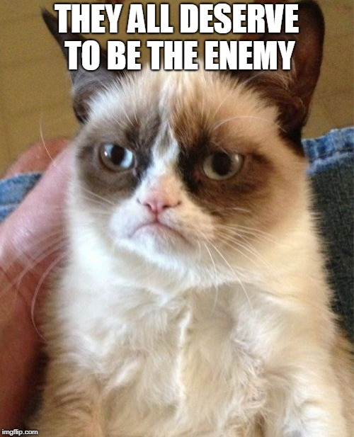 Grumpy Cat Meme | THEY ALL DESERVE TO BE THE ENEMY | image tagged in memes,grumpy cat | made w/ Imgflip meme maker