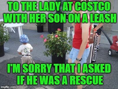 Welcome to Costco, I love you | TO THE LADY AT COSTCO WITH HER SON ON A LEASH I'M SORRY THAT I ASKED IF HE WAS A RESCUE | image tagged in kid on leash 2 | made w/ Imgflip meme maker