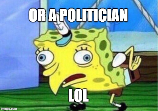 Mocking Spongebob Meme | OR A POLITICIAN LOL | image tagged in memes,mocking spongebob | made w/ Imgflip meme maker