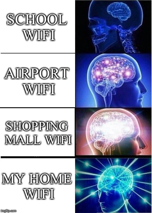 Expanding Brain Meme | SCHOOL WIFI AIRPORT WIFI SHOPPING MALL WIFI MY HOME WIFI | image tagged in memes,expanding brain | made w/ Imgflip meme maker