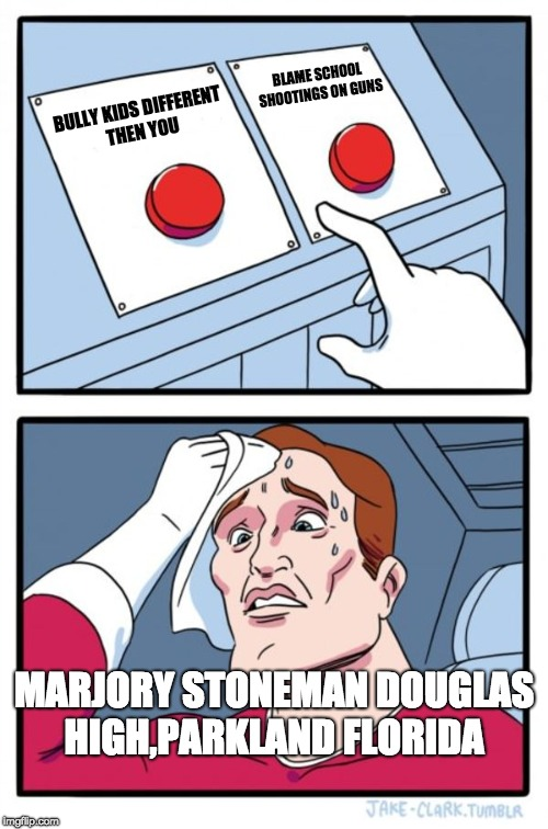 Two Buttons Meme | BULLY KIDS DIFFERENT  THEN YOU BLAME SCHOOL SHOOTINGS ON GUNS MARJORY STONEMAN DOUGLAS HIGH,PARKLAND FLORIDA | image tagged in memes,two buttons | made w/ Imgflip meme maker