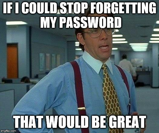 That Would Be Great Meme | IF I COULD STOP FORGETTING MY PASSWORD THAT WOULD BE GREAT | image tagged in memes,that would be great | made w/ Imgflip meme maker