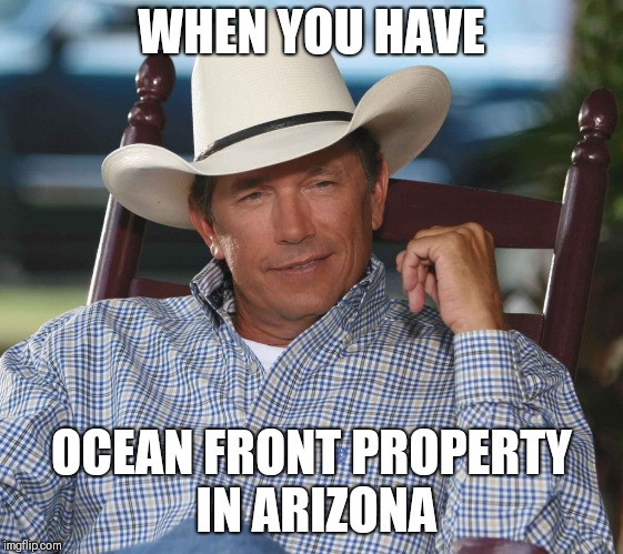 WHEN YOU HAVE OCEAN FRONT PROPERTY IN ARIZONA | image tagged in country music,music,george | made w/ Imgflip meme maker