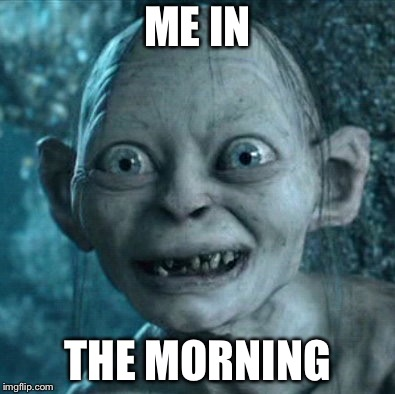 Gollum Meme | ME IN THE MORNING | image tagged in memes,gollum | made w/ Imgflip meme maker