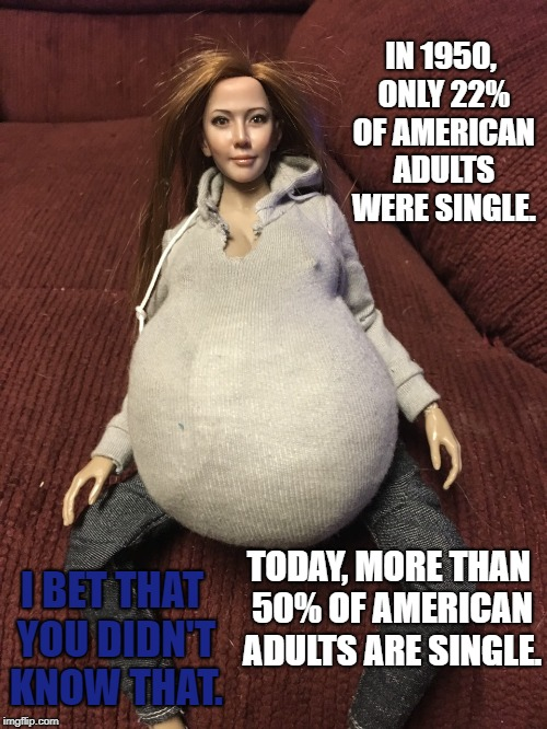 Olivia Michelle | IN 1950, ONLY 22% OF AMERICAN ADULTS WERE SINGLE. TODAY, MORE THAN 50% OF AMERICAN ADULTS ARE SINGLE. I BET THAT YOU DIDN'T KNOW THAT. | image tagged in olivia michelle | made w/ Imgflip meme maker
