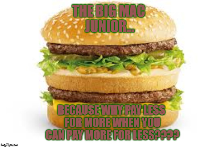 THE BIG MAC JUNIOR... BECAUSE WHY PAY LESS FOR MORE WHEN YOU CAN PAY MORE FOR LESS???? | made w/ Imgflip meme maker