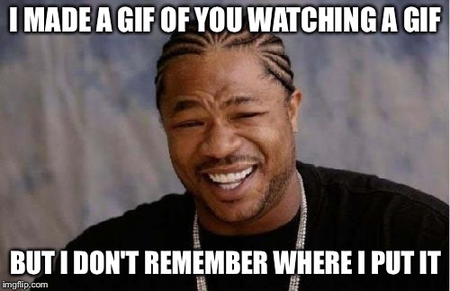 Yo Dawg Heard You Meme | I MADE A GIF OF YOU WATCHING A GIF BUT I DON'T REMEMBER WHERE I PUT IT | image tagged in memes,yo dawg heard you | made w/ Imgflip meme maker