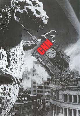 Godzilla destroys a Clock Tower | CNN | image tagged in godzilla destroys a clock tower | made w/ Imgflip meme maker