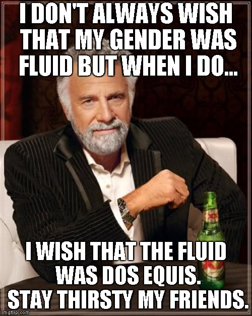 Gender fluidity...Think of all the possibilities. | I DON'T ALWAYS WISH THAT MY GENDER WAS FLUID BUT WHEN I DO... I WISH THAT THE FLUID WAS DOS EQUIS. STAY THIRSTY MY FRIENDS. | image tagged in memes,the most interesting man in the world | made w/ Imgflip meme maker