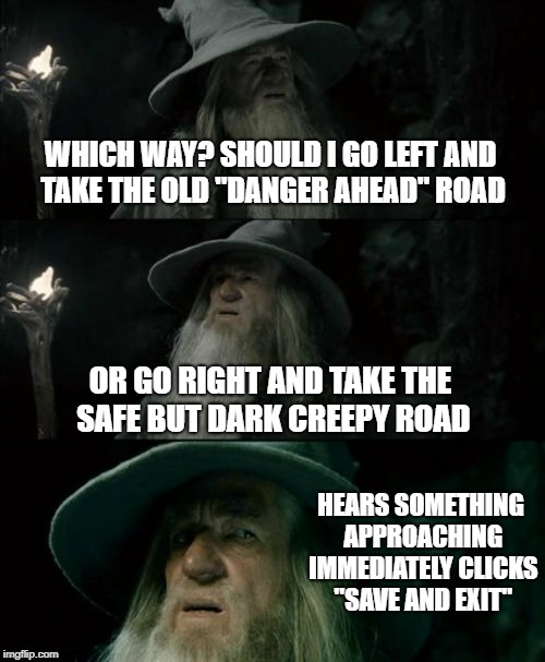 "When you can't decide which path to take in a game | WHICH WAY? SHOULD I GO LEFT AND TAKE THE OLD ""DANGER AHEAD"" ROAD OR GO RIGHT AND TAKE THE SAFE BUT DARK CREEPY ROAD HEARS SOMETHING APPROACH 