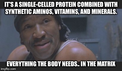 Dozer Knows Nutrition  | IT'S A SINGLE-CELLED PROTEIN COMBINED WITH SYNTHETIC AMINOS, VITAMINS, AND MINERALS. EVERYTHING THE BODY NEEDS.. IN THE MATRIX | image tagged in dozer,matrix,nutrition | made w/ Imgflip meme maker