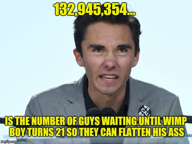 132,945,354... IS THE NUMBER OF GUYS WAITING UNTIL WIMP BOY TURNS 21 SO THEY CAN FLATTEN HIS ASS | image tagged in hogg head | made w/ Imgflip meme maker