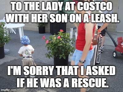 TO THE LADY AT COSTCO WITH HER SON ON A LEASH. I'M SORRY THAT I ASKED IF HE WAS A RESCUE. | image tagged in kid on leash 2,funny,memes,funny memes,parenting,kids | made w/ Imgflip meme maker