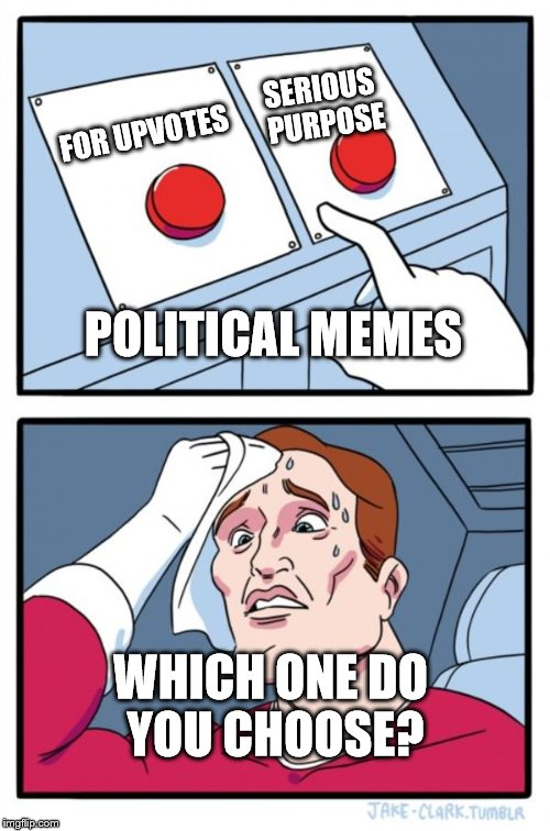 Two Buttons Meme | FOR UPVOTES SERIOUS PURPOSE POLITICAL MEMES WHICH ONE DO YOU CHOOSE? | image tagged in memes,two buttons | made w/ Imgflip meme maker