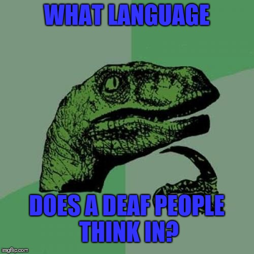 Philosoraptor Meme | WHAT LANGUAGE DOES A DEAF PEOPLE THINK IN? | image tagged in memes,philosoraptor,sir_unknown | made w/ Imgflip meme maker