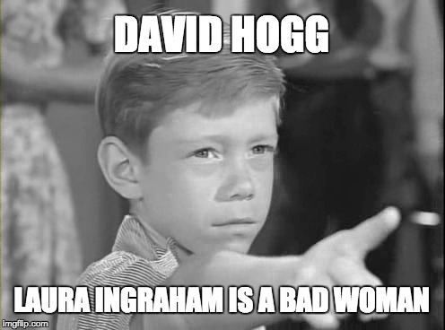 DAVID HOGG | DAVID HOGG LAURA INGRAHAM IS A BAD WOMAN | image tagged in laura ingraham,david hogg | made w/ Imgflip meme maker